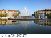 Fountain of Piazza Castello on a spring sunny day. City of Milan, region of Lombardy, Italy, Europe. (2018 год). Редакционное фото, фотограф Bala-Kate / Фотобанк Лори