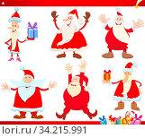 Cartoon Illustration of Santa Claus with Presents on Christmas Time Set. Стоковое фото, фотограф Zoonar.com/Igor Zakowski / easy Fotostock / Фотобанк Лори