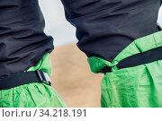 Legging for protection from dirt Hiking mountain. Стоковое фото, фотограф Zoonar.com/Maximilian Buzun / easy Fotostock / Фотобанк Лори