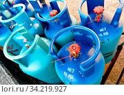 Купить «Propane tanks», фото № 34219927, снято 14 июля 2020 г. (c) easy Fotostock / Фотобанк Лори