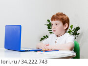 Boy studying, a close-up. Стоковое фото, фотограф Игорь Лейчонок / Фотобанк Лори