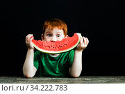 Bitten red sweet watermelon. Стоковое фото, фотограф Игорь Лейчонок / Фотобанк Лори