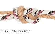 Купить «Flemish bend joining two ropes close up isolated on white background», фото № 34227627, снято 5 августа 2020 г. (c) easy Fotostock / Фотобанк Лори