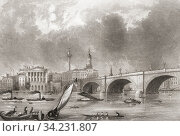 London Bridge, London, England, 19th century. From The History of London: Illustrated by Views in London and Westminster, published c. 1838. Стоковое фото, фотограф Classic Vision / age Fotostock / Фотобанк Лори