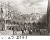 Royal Exchange, London, England, 19th century. This building was destroyed by fire in 1838. From The History of London: Illustrated by Views in London and Westminster, published c. 1838. Стоковое фото, фотограф Classic Vision / age Fotostock / Фотобанк Лори