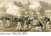 Купить «When the third shot blew up the tumbril we gave a cheer. Heavy artillery of the 53rd Regiment bombarding a village on the way to the relief of Lucknow...», фото № 34231851, снято 5 августа 2020 г. (c) age Fotostock / Фотобанк Лори