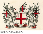 Coat of arms of London, England. From The Business Encyclopaedia and Legal Adviser, published 1907. Стоковое фото, фотограф Classic Vision / age Fotostock / Фотобанк Лори