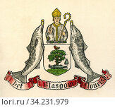 Coat of arms of Glasgow, Scotland. From The Business Encyclopaedia and Legal Adviser, published 1907. Стоковое фото, фотограф Classic Vision / age Fotostock / Фотобанк Лори