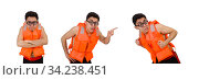 Funny man wearing orange safety vest. Стоковое фото, фотограф Elnur / Фотобанк Лори