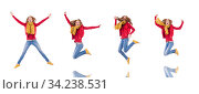 Cute smiling girl in red jacket and jeans isolated on white. Стоковое фото, фотограф Elnur / Фотобанк Лори