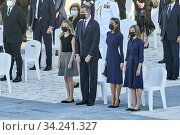 Купить «King Felipe VI of Spain, Queen Letizia of Spain, Crown Princess Leonor, Princess Sofia attend Spanish Royals attends State tribute to the victims of the...», фото № 34241327, снято 16 июля 2020 г. (c) age Fotostock / Фотобанк Лори