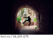 Silhouette of a man practicing karate moves and techniques in a dark tunnel. Стоковое фото, фотограф Zoonar.com/Pawel Opaska / easy Fotostock / Фотобанк Лори