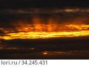 Купить «Dramatic clouds rising of sun floating in sky to change weather. Soft focus, blurred motion. Natural background, beautiful cloudscape», фото № 34245431, снято 31 мая 2020 г. (c) А. А. Пирагис / Фотобанк Лори