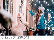 Photo of a young woman and a white dog who shows tricks on an evening winter street. Стоковое фото, фотограф Zoonar.com/Oleksii Hrecheniuk / easy Fotostock / Фотобанк Лори