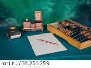 Старые инструменты счетовода. Стоковое фото, фотограф Валерий Александрович / Фотобанк Лори