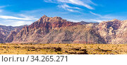 Купить «Panoramic of desert Landscape of Red Rock Canyon National Conservation recreation Area in Las Vegas Nevada United States. USA landmark national park nature landscape travel and tourism concept.», фото № 34265271, снято 4 августа 2020 г. (c) easy Fotostock / Фотобанк Лори