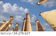 Roman Columns in the Jordanian city of Jerash (Gerasa of Antiquity) against the background of moving clouds, capital and largest city of Jerash Governorate, Jordan. Стоковое видео, видеограф Владимир Журавлев / Фотобанк Лори