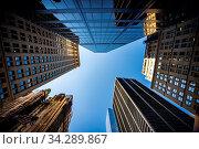 Купить «Blurred Background of low angle view of skyscrapers in New York», фото № 34289867, снято 4 августа 2020 г. (c) easy Fotostock / Фотобанк Лори