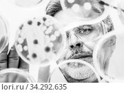 Focused senior life science professional grafting bacteria in the pettri dishes. Lens focus on the pipette. Black and white image. Стоковое фото, фотограф Zoonar.com/Matej Kastelic / easy Fotostock / Фотобанк Лори