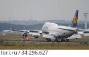 Купить «Airplane landing in Frankfurt», видеоролик № 34296627, снято 20 июля 2017 г. (c) Игорь Жоров / Фотобанк Лори