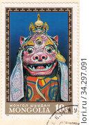 Купить «Традиционная ритуальная маска трёхглазого бога Даг Дамбуджин. Почтовая марка Монголии 1971 года», иллюстрация № 34297091 (c) александр афанасьев / Фотобанк Лори