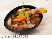 Cock-a-leekie soup with chiken, leek and bacon, traditional Scottish dish. Стоковое фото, фотограф Яков Филимонов / Фотобанк Лори
