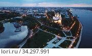 Aerial view of Assumption Cathedral at Yaroslavl in summer night. Russia. Стоковое видео, видеограф Яков Филимонов / Фотобанк Лори