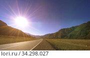 Купить «Mountain road timelapse at the summer or autumn sunset sunrise time. Wild nature and rural field.», видеоролик № 34298027, снято 7 июня 2018 г. (c) Александр Маркин / Фотобанк Лори