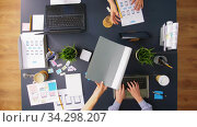 business team with gadgets working at office table. Стоковое видео, видеограф Syda Productions / Фотобанк Лори