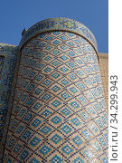 Detail of the colorful tilework at the Nodir Devon Begi Madrasasi in Bukhara, Uzbekistan. Стоковое фото, фотограф Wolfgang Kaehler / age Fotostock / Фотобанк Лори