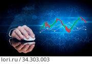 Купить «Hand using wireless mouse with statistical concept on dark background», фото № 34303003, снято 5 августа 2020 г. (c) easy Fotostock / Фотобанк Лори