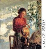 Ancher Anna - Zwei Mädchen Beim Nähunterricht - Danish School - 19th and Early 20th Century. Редакционное фото, фотограф Artepics / age Fotostock / Фотобанк Лори