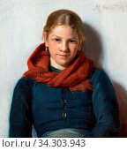 Ancher Michael Peter - Maren Sofie Olsen from Skagen with a Red Scarf - Danish School - 19th and Early 20th Century. Редакционное фото, фотограф Artepics / age Fotostock / Фотобанк Лори