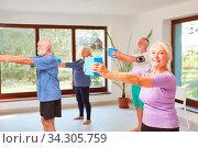 Gruppe Senioren trainiert bei Fitness Kurs als Rückentraining. Стоковое фото, фотограф Zoonar.com/Robert Kneschke / age Fotostock / Фотобанк Лори
