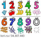 Купить «Cartoon Illustration of Educational Numbers Collection from One to Nine with Objects», фото № 34307443, снято 5 августа 2020 г. (c) easy Fotostock / Фотобанк Лори