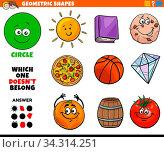 Купить «Cartoon Illustration of Circle Geometric Shape Educational Task for Children», фото № 34314251, снято 5 августа 2020 г. (c) easy Fotostock / Фотобанк Лори