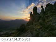 Rock formations of the Demerdji mountain, Crimea. Beautiful view of the Valley of Ghosts on the sunset (2020 год). Стоковое фото, фотограф Яна Королёва / Фотобанк Лори