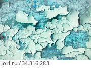 Купить «Текстура потрескавшейся голубой краски. Texture background - peeling paint on the rough concrete surface», фото № 34316283, снято 27 мая 2017 г. (c) Зезелина Марина / Фотобанк Лори
