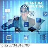 Купить «Businesswoman pressing virtual button in quantum computing conce», фото № 34316783, снято 6 августа 2020 г. (c) Elnur / Фотобанк Лори