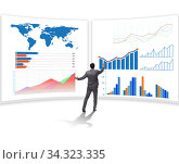 Businessman in business visualization and infographics concept. Стоковое фото, фотограф Elnur / Фотобанк Лори