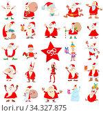 Cartoon Illustration of Santa Claus Characters on Christmas Time Large Set. Стоковое фото, фотограф Zoonar.com/Igor Zakowski / easy Fotostock / Фотобанк Лори
