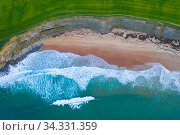 Aerial view of waves rolling over Langre beach, Cantabria, Spain, February. Стоковое фото, фотограф Juan  Carlos Munoz / Nature Picture Library / Фотобанк Лори
