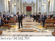 Купить «The Italian Republic President Sergio Mattarella during the mass of the victims of the Ustica and Bologna massacres ,Bologna,ITALY-30-07-2020.», фото № 34332751, снято 30 июля 2020 г. (c) age Fotostock / Фотобанк Лори