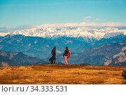 St. Radegund, Austria 12.03.2020 - View from Schockl mountain in Graz. Tourist spot in Graz Styria. Places to see in Austria Tourists on the top of mountain. Стоковое фото, фотограф Zoonar.com/Przemyslaw Iciak / easy Fotostock / Фотобанк Лори