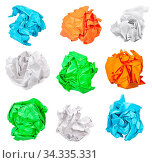 Various crumpled paper balls isolated on white background. Стоковое фото, фотограф Zoonar.com/Valery Voennyy / easy Fotostock / Фотобанк Лори