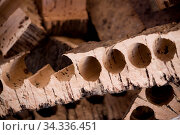 Close up view of the leftover of the production of corks. Стоковое фото, фотограф Zoonar.com/Mauro Rodrigues / easy Fotostock / Фотобанк Лори