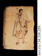 Central Mexican man at Codex Tudela, 16th-century pictorial Aztec... Стоковое фото, фотограф Juan García Aunión / age Fotostock / Фотобанк Лори