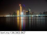 The Night panorama of Abu Dhabi, UAE (2019 год). Стоковое фото, фотограф Володина Ольга / Фотобанк Лори