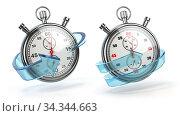 Купить «Stopwatch with blue arrow isolated on white. Fast express delivery concept», фото № 34344663, снято 6 августа 2020 г. (c) Maksym Yemelyanov / Фотобанк Лори