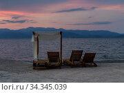 Купить «Summer landscape at sunset by the sea (Phthiotis, Greece)», фото № 34345039, снято 7 сентября 2019 г. (c) Татьяна Ляпи / Фотобанк Лори